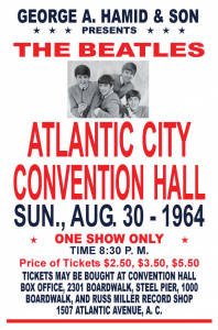 The poster for the Beatles appearance in Atlantic City during the summer of 1964