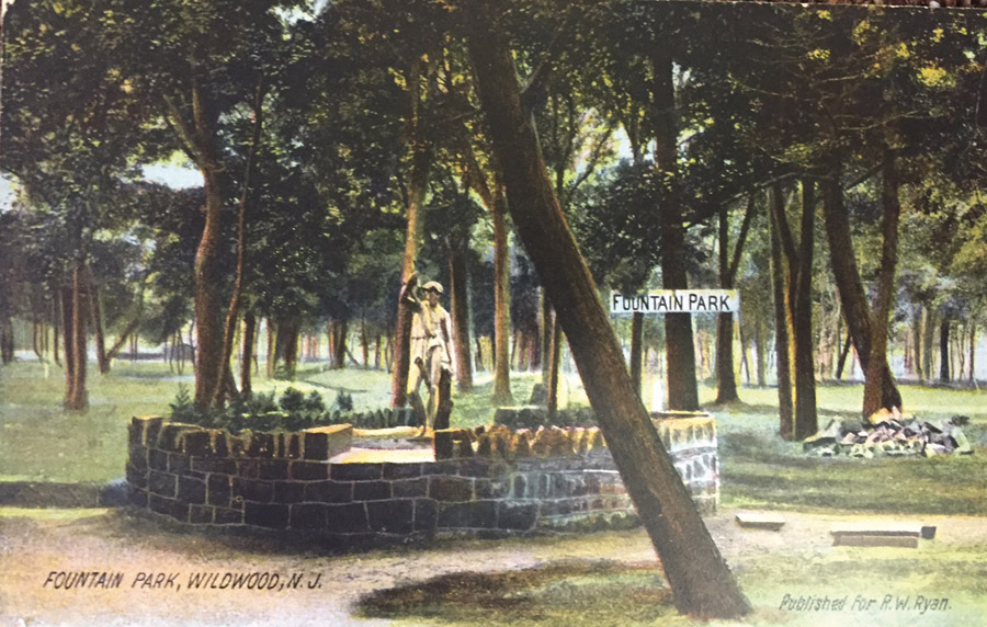 Fountain park postcard