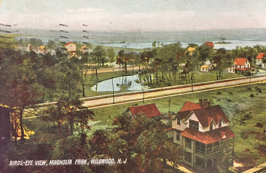 magnolia lake birds eye view postcard