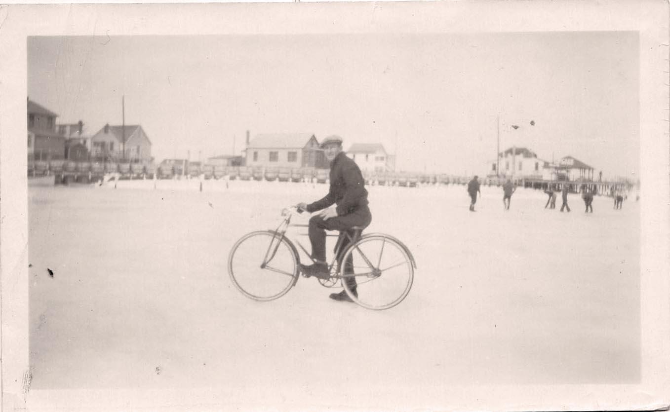 Harold Braidwood on a frozen Moore's inlet