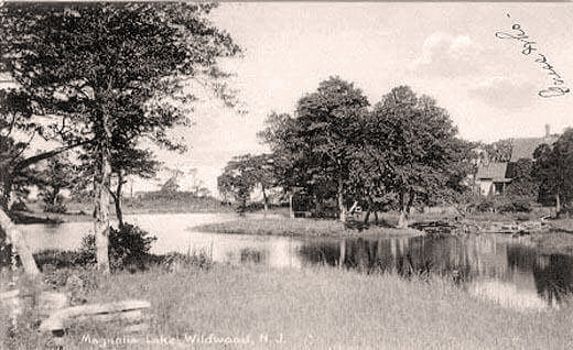 This park was actually not located on Magnolia Ave., but between Wildwood and Oak Ave. along New Jersey Ave. The lake was filled in and most of the land developed. A small park still exists here with a WW1 monument.